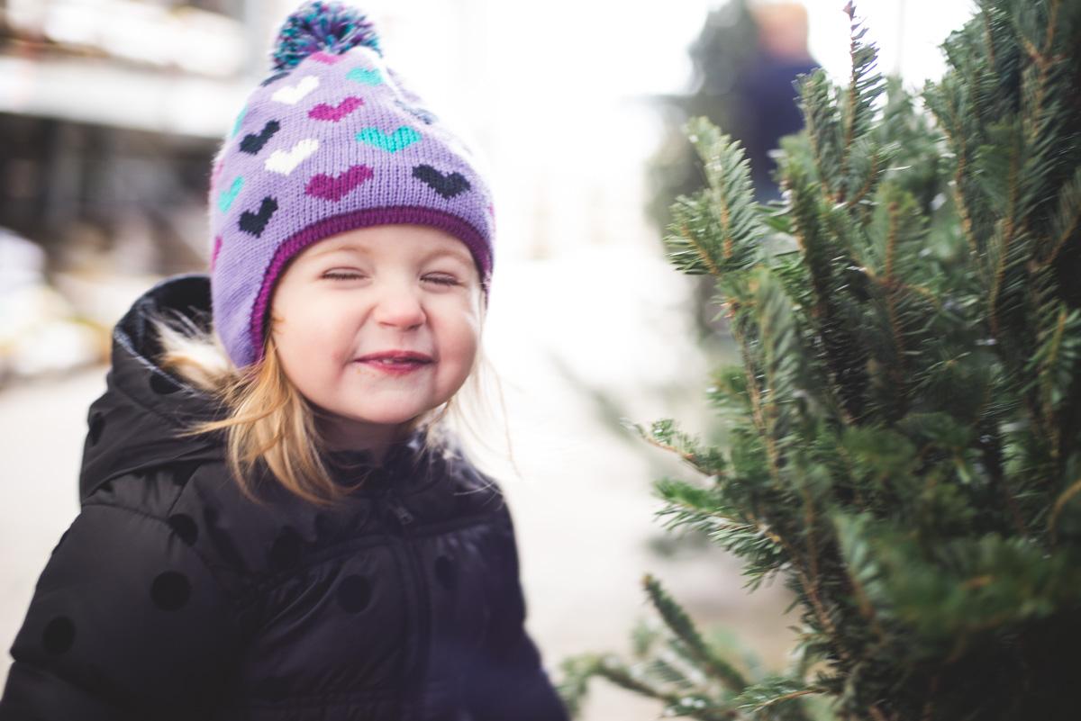 Christmas tree shopping last year.