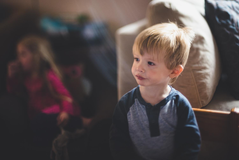 Little boy watches tv | Francesca Russell Photography & Films | Garden City Family Photographer