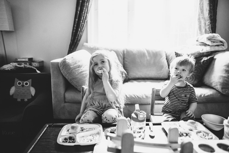 Boy and girl eat dinner | Francesca Russell Photography & Films | Garden City Family Photographer