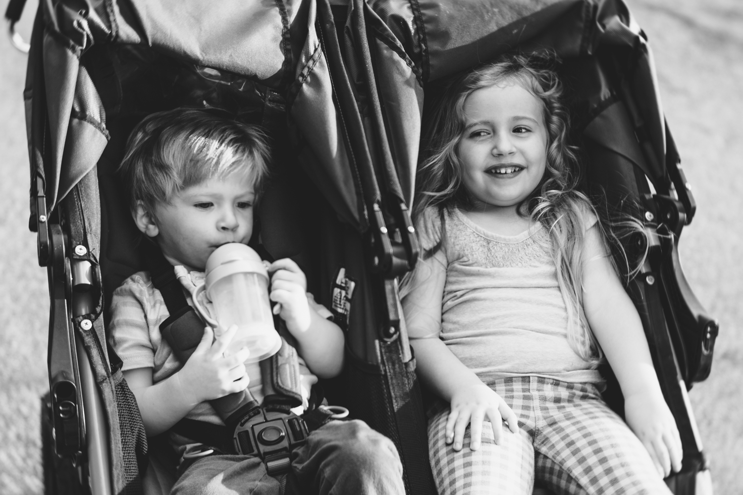 Siblings in stroller | Francesca Russell Photography & Films | Garden City Family Photographer