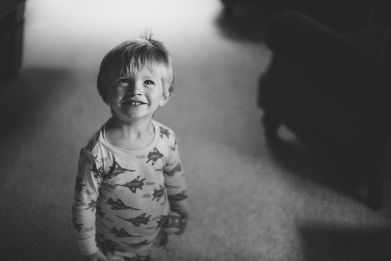 Logan in pajamas.