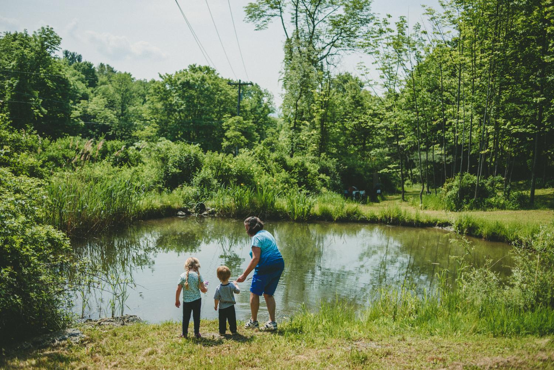 Lila, Logan & Nana at the pond.