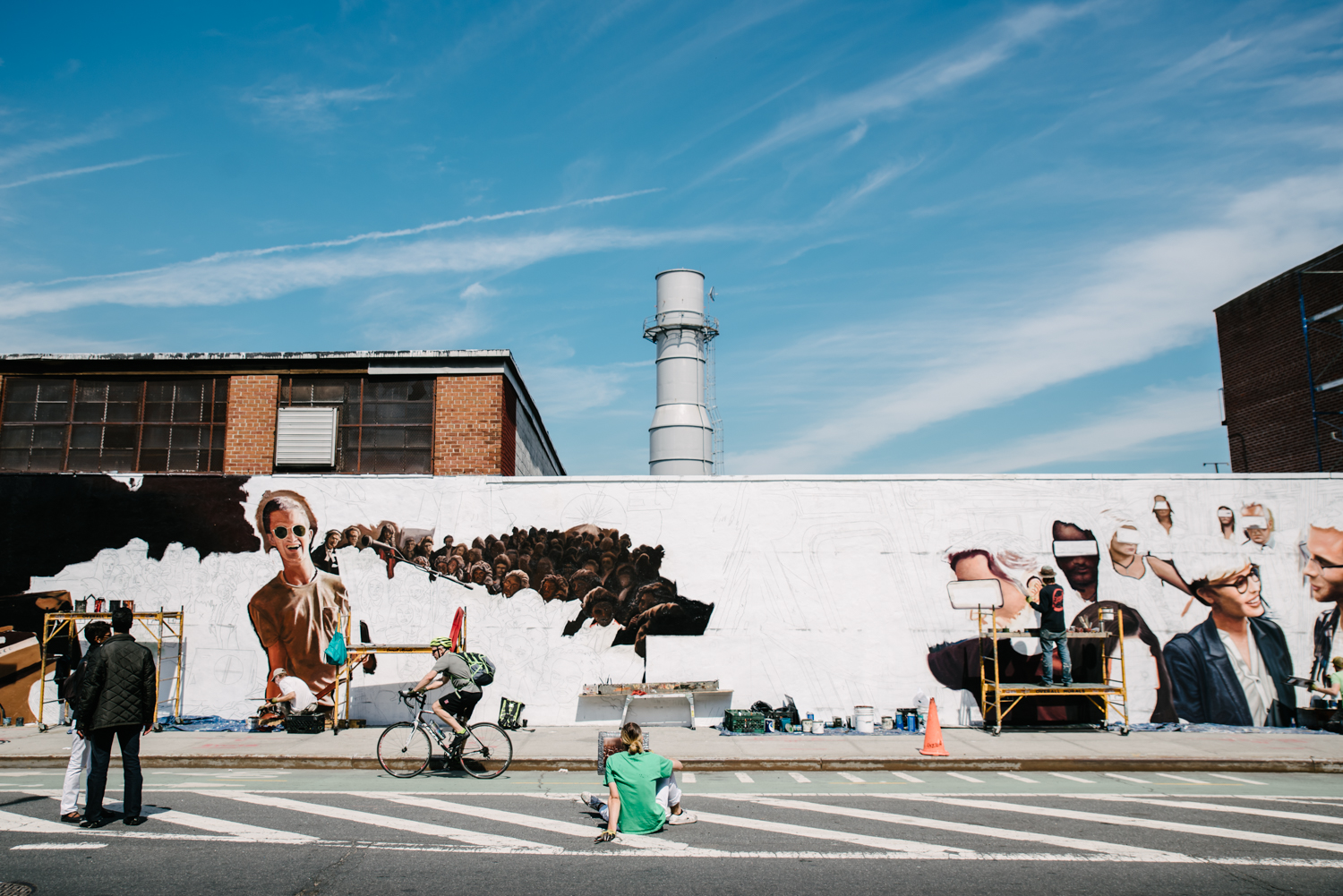 Francesca Russell Photography | Brooklyn Family Photographer | A mural being painted.