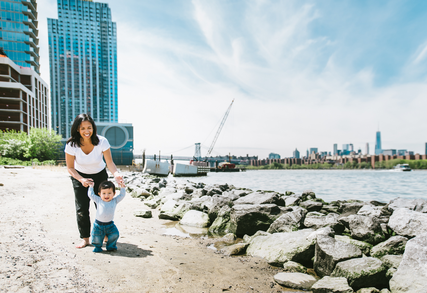 Francesca Russell Photography | Brooklyn Family Photographer | Mom and Baby walking along water