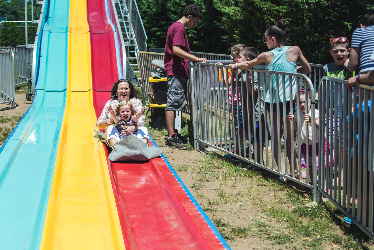 Going down the big slide at the beer garden on Father's Day.