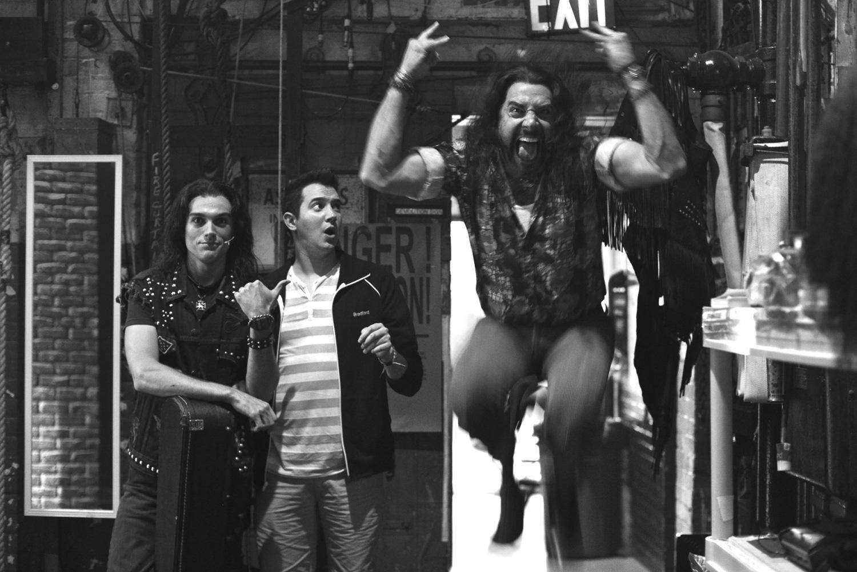 """Shenanigans backstage at """"Rock of Ages""""."""