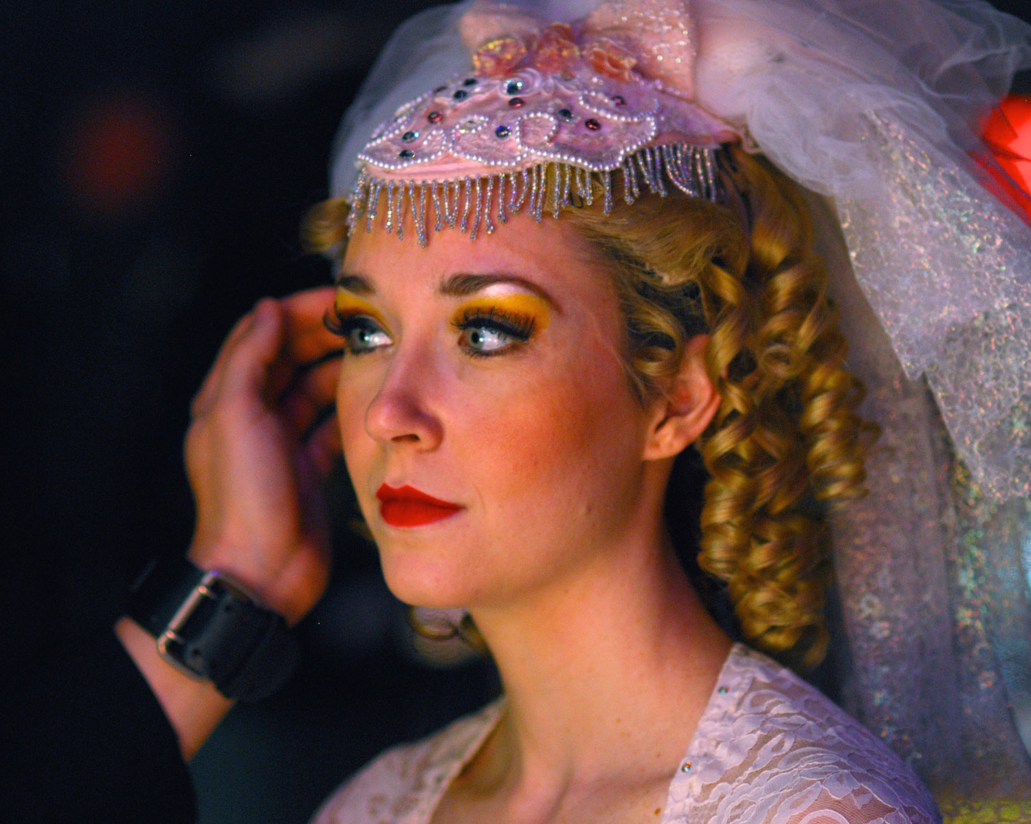 """Jennifer Mathie getting ready for the finale in """"Spamalot""""."""