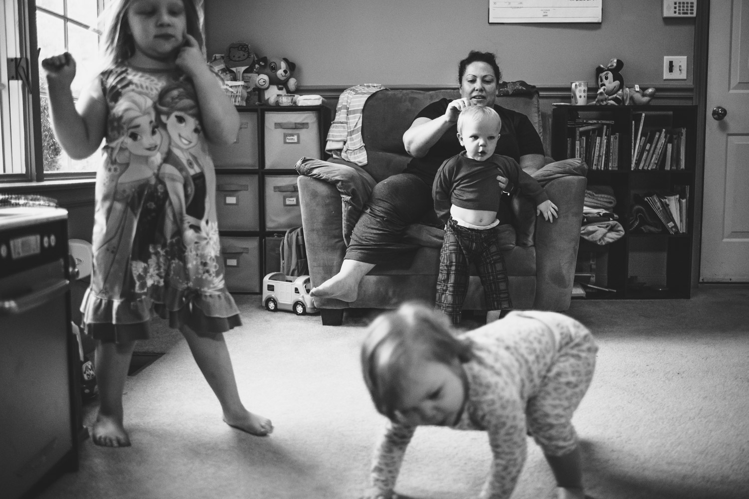 Family playing around in the early morning.