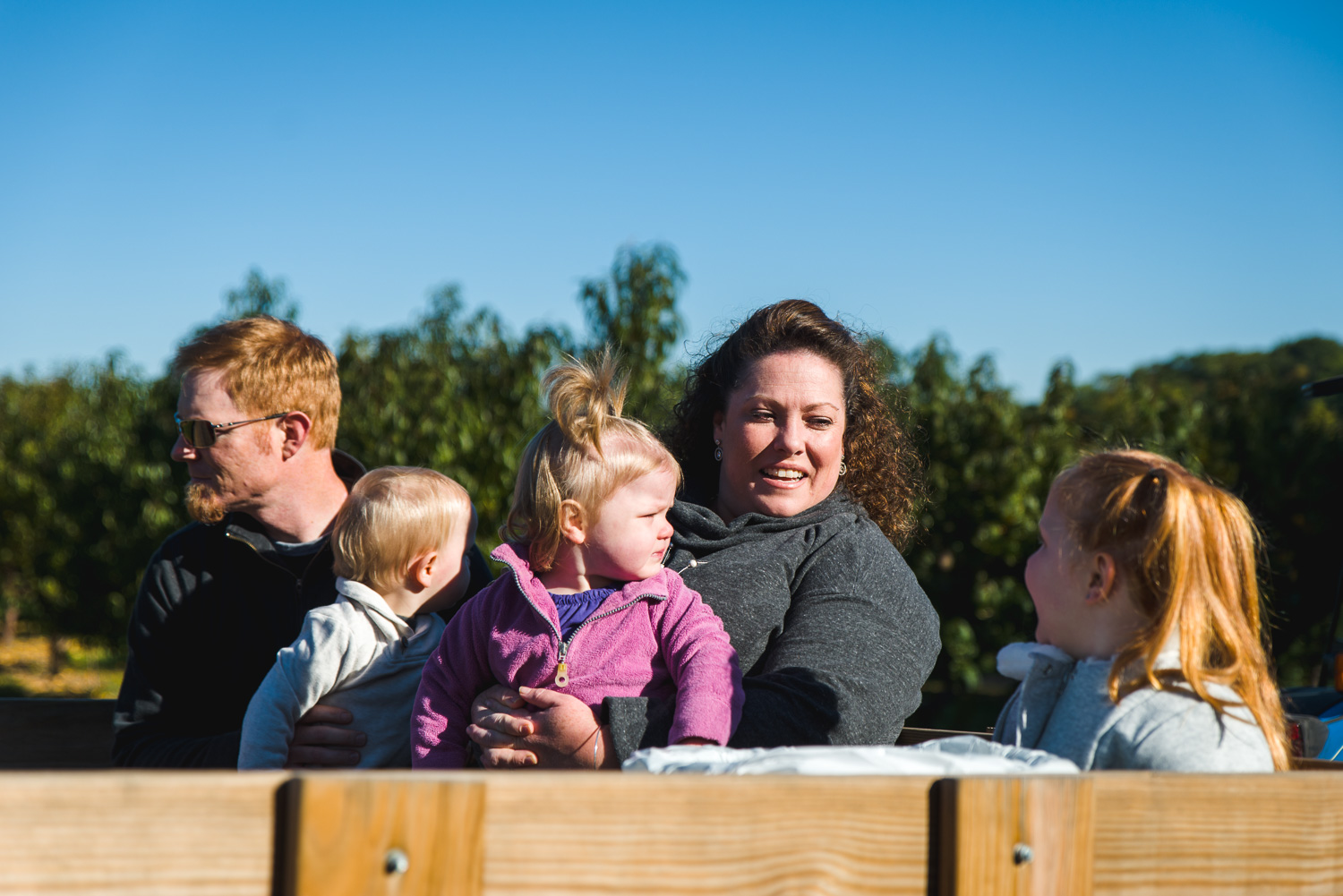 Family on a hay ride.