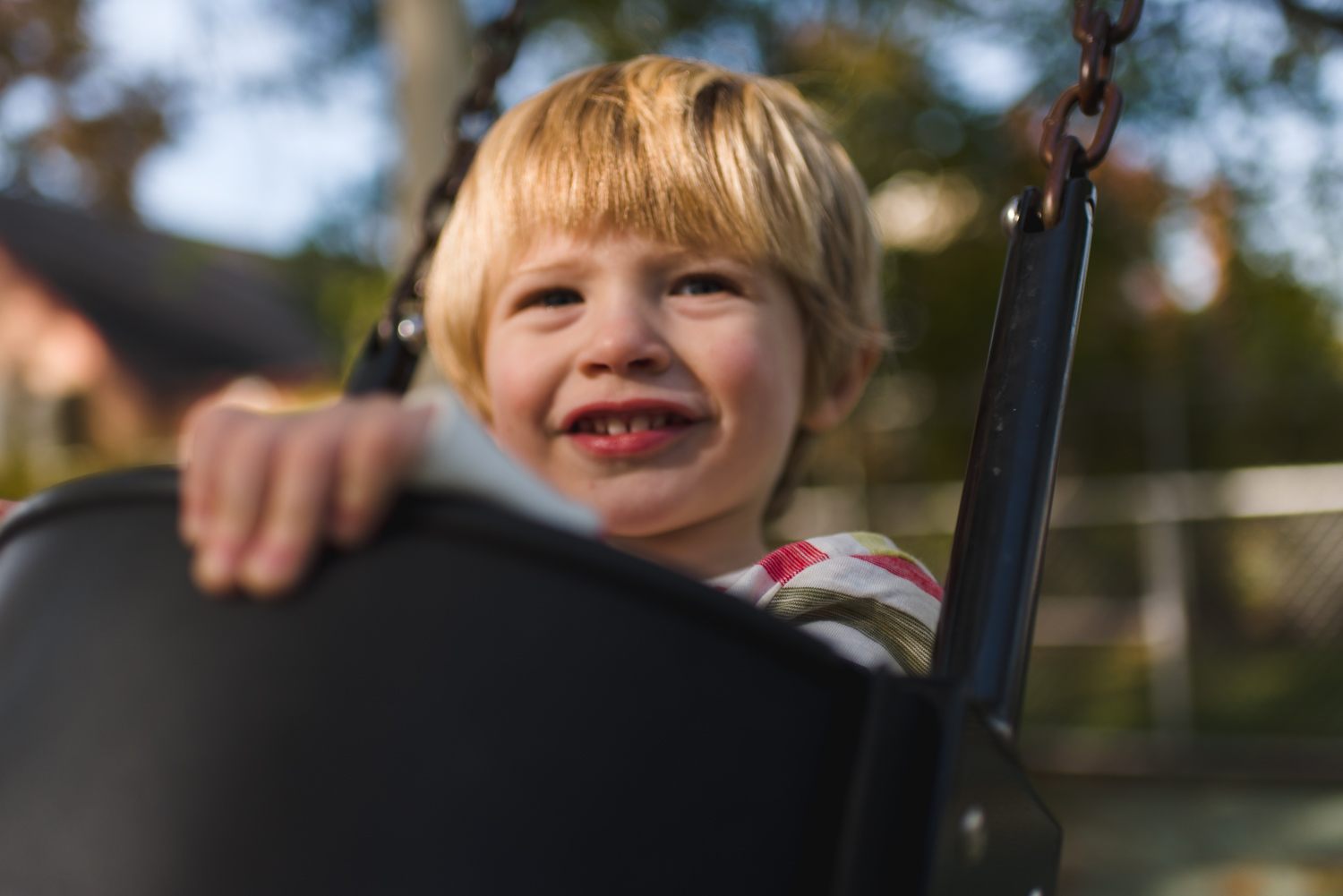 Toddler boy on a swing.