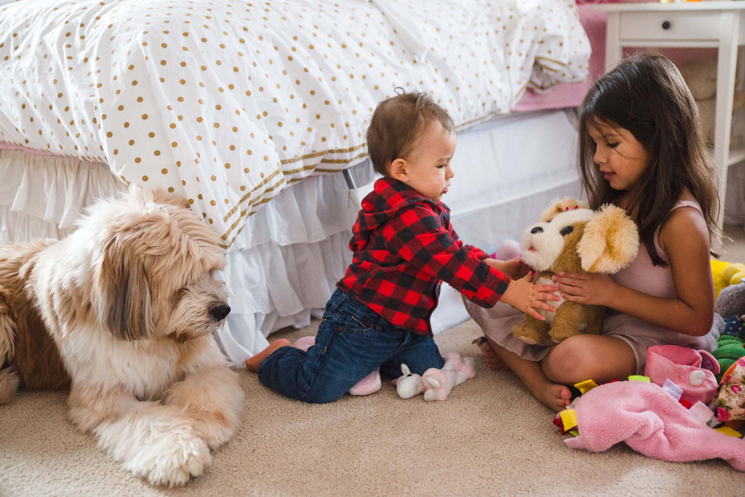 Kids and dog playing in living room.