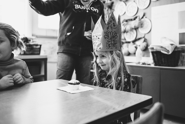 Celebrating a little girl's birthday at school.
