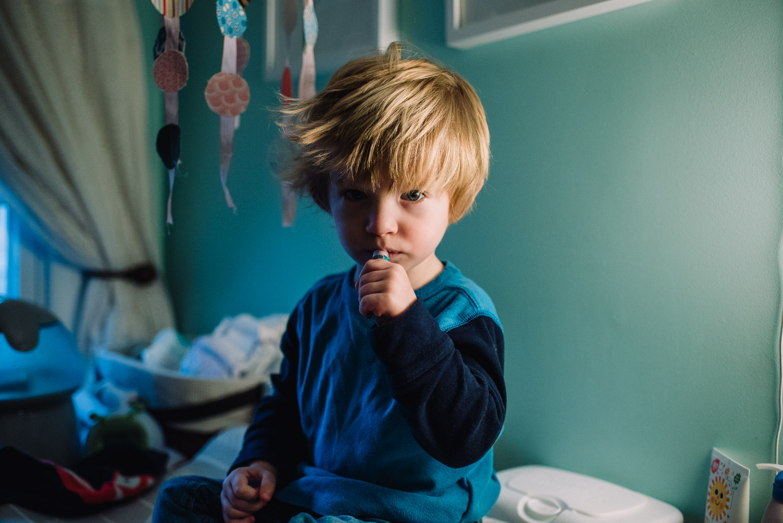 Toddler boy with crazy hair.