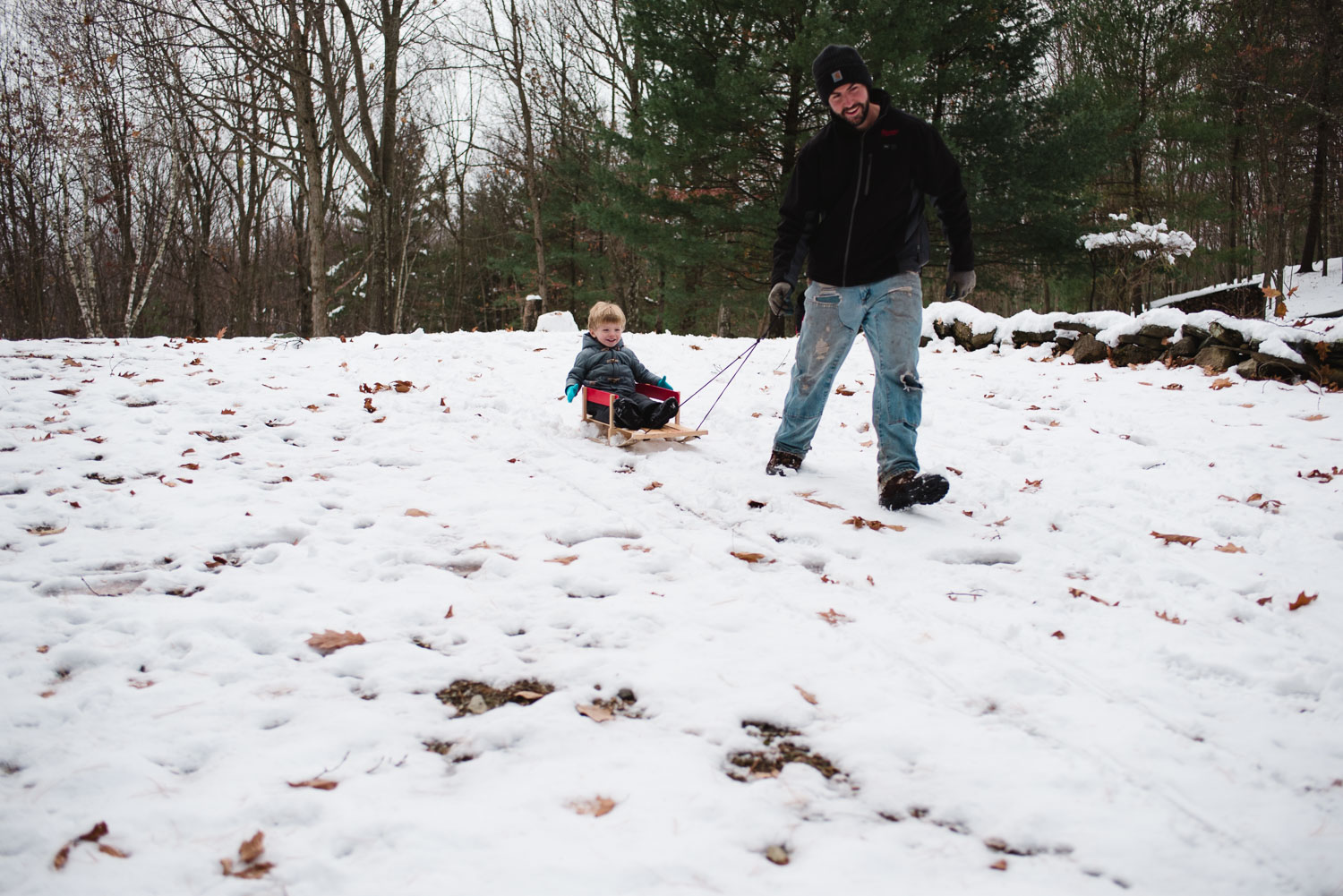 Father pulling toddler son on a sled.