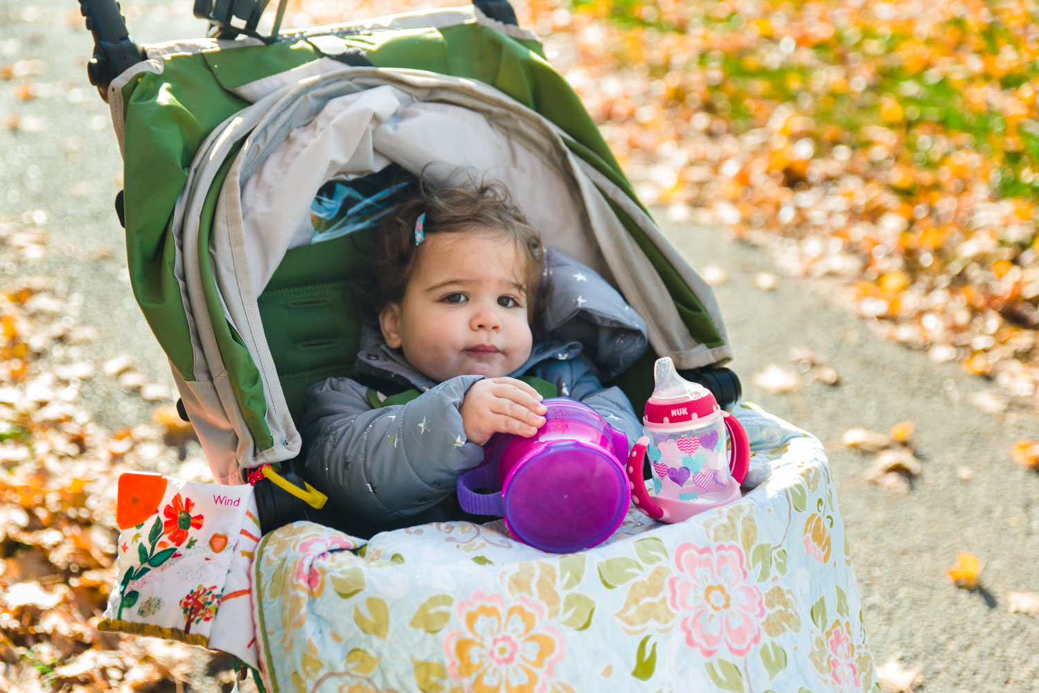 A toddler enjoying her snack while sitting in a stroller.