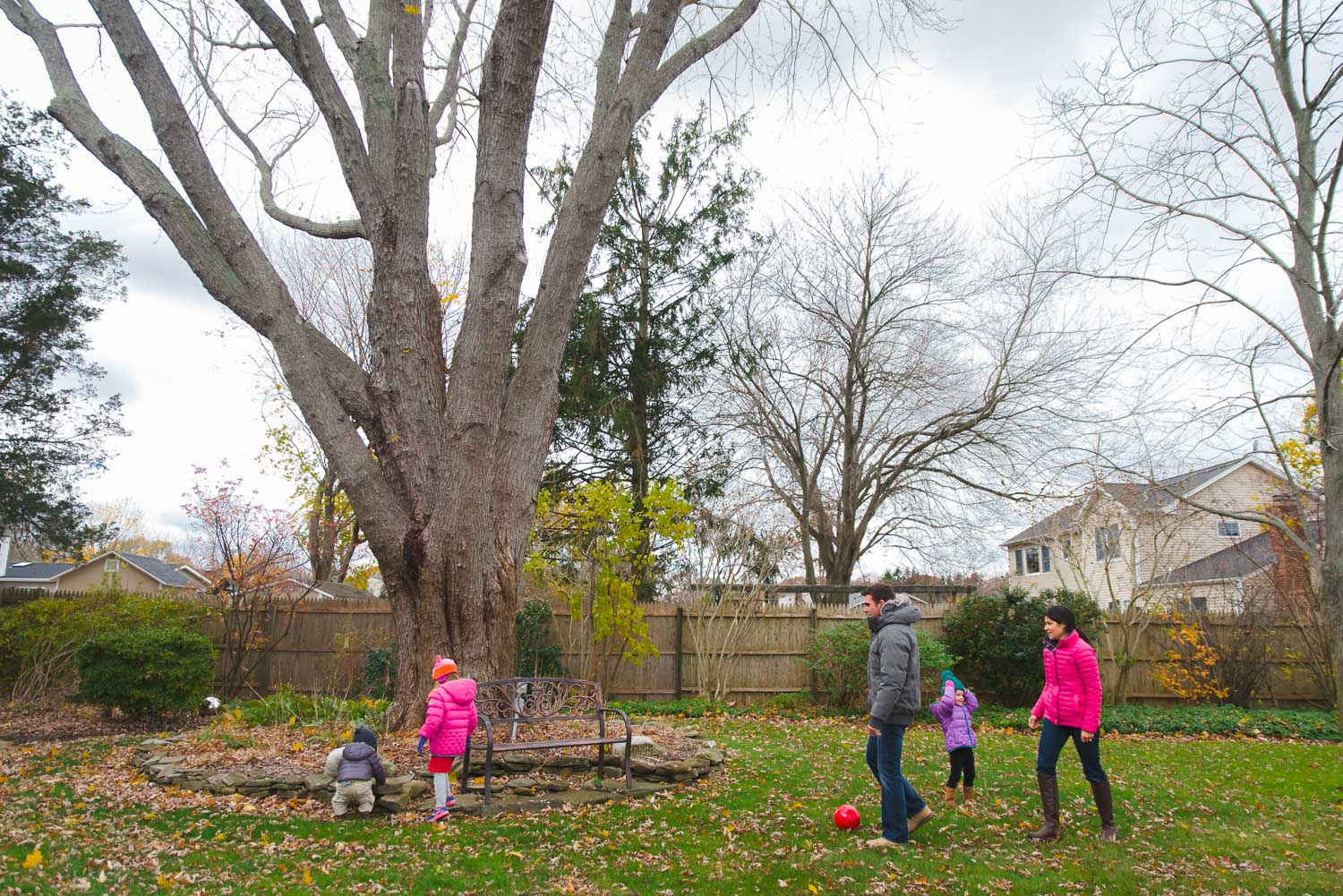 A family plays in their large backyard.