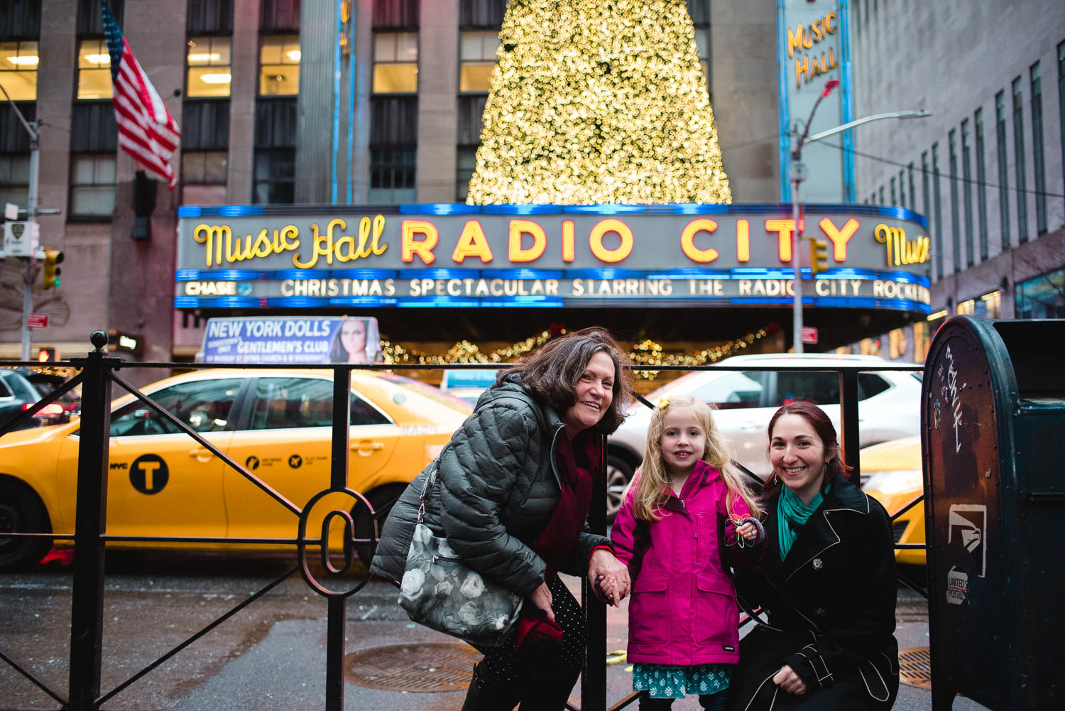 Family outside Radio City Music Hall.