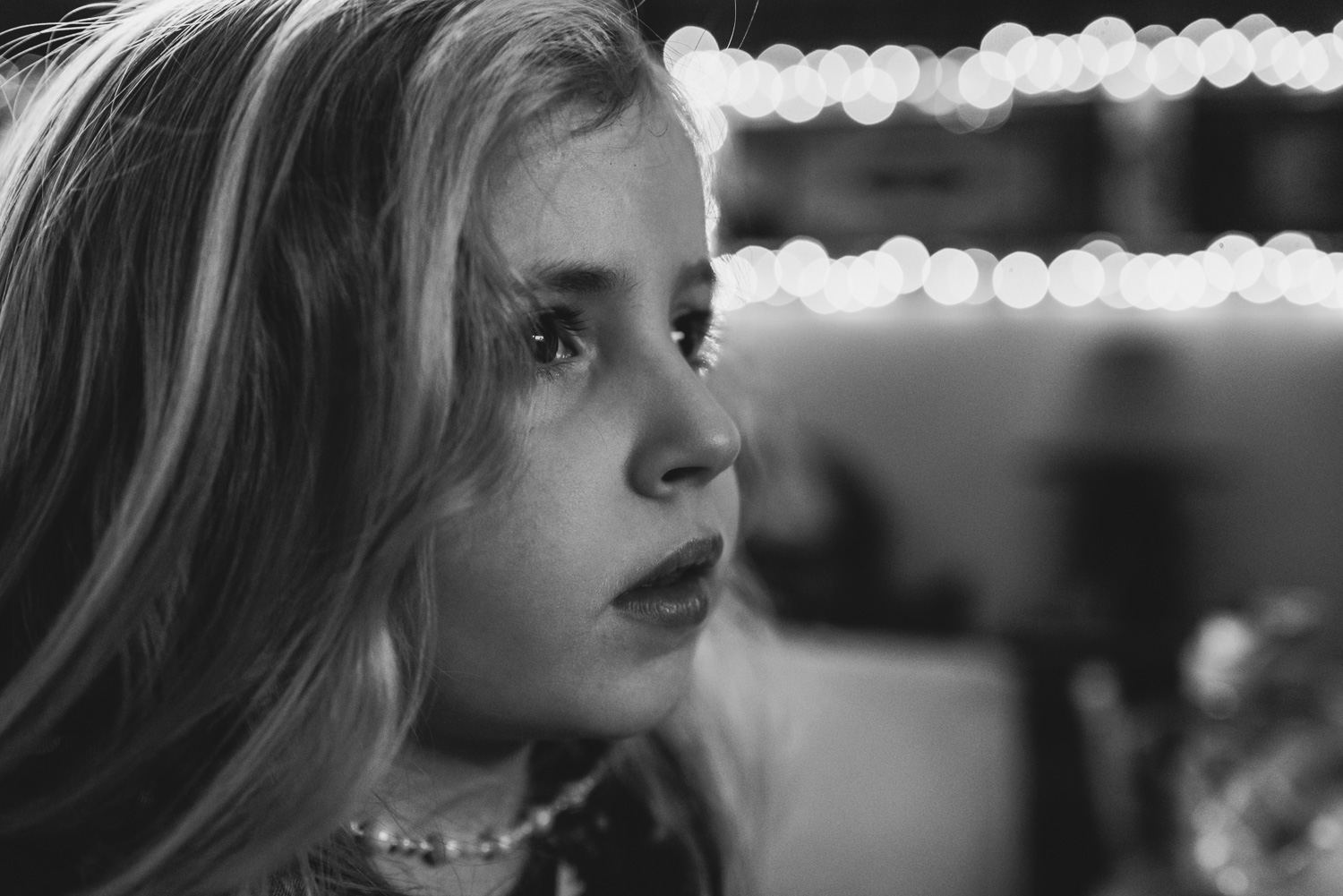 Portrait of little girl in black and white.