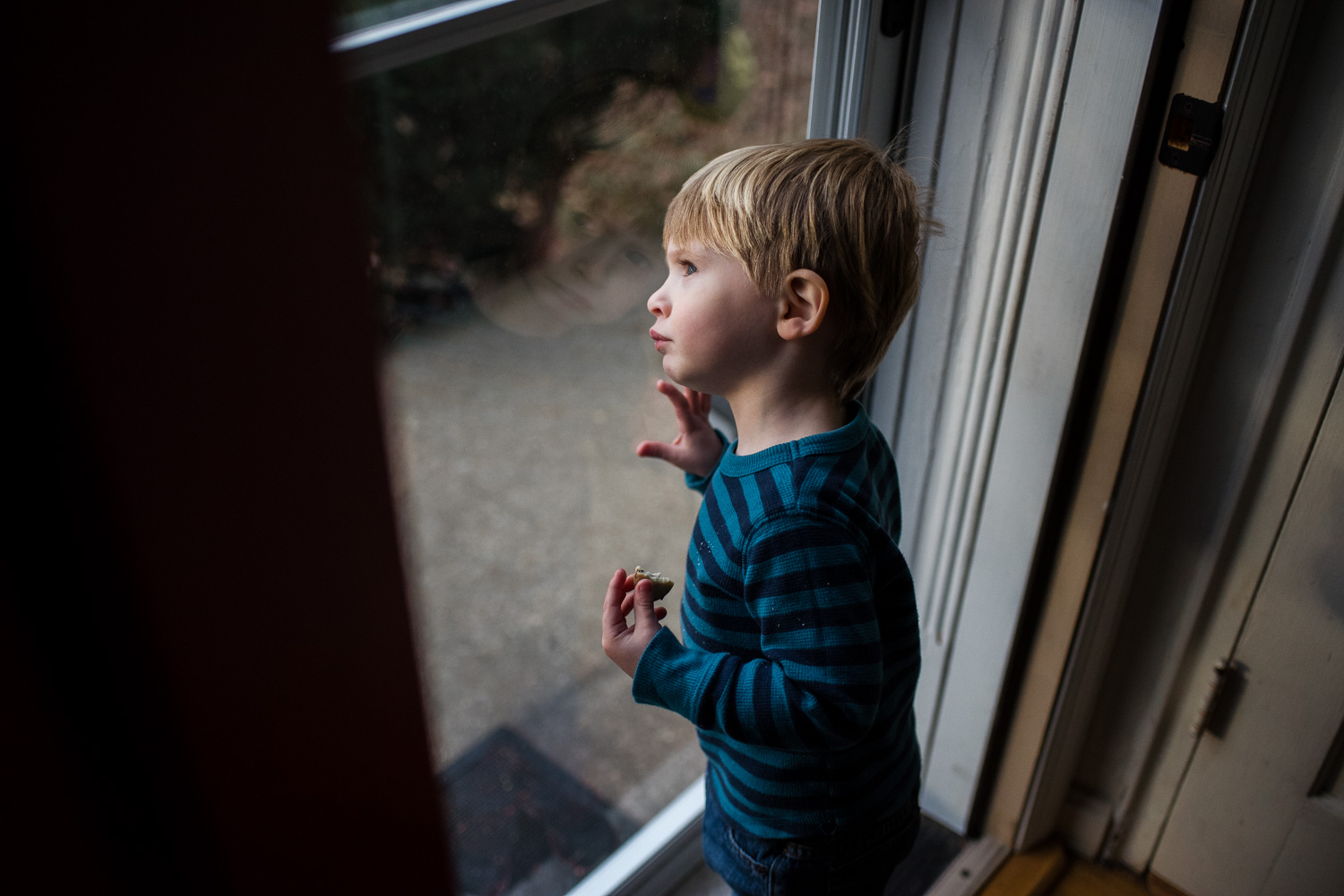 Little boy looking out of glass storm door.