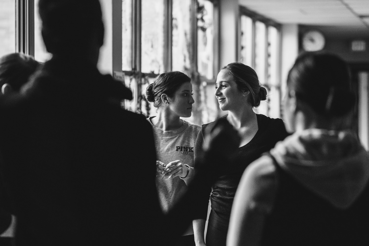 Dancers rehearse in the hallway at Trinity High School in Hicksville.