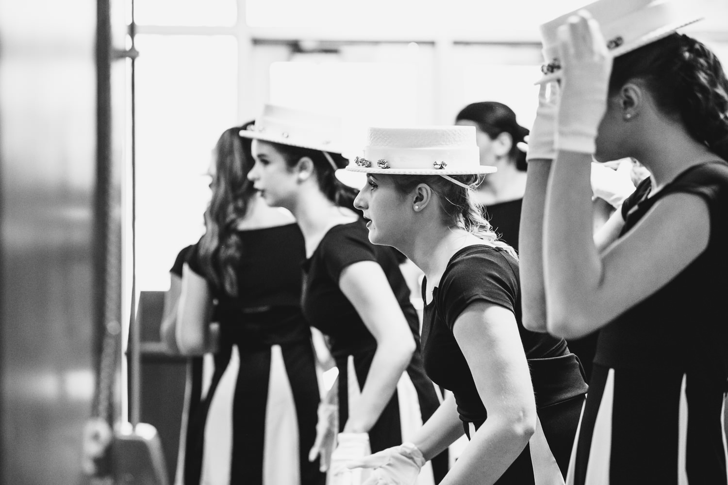 Dancers rehearse backstage.