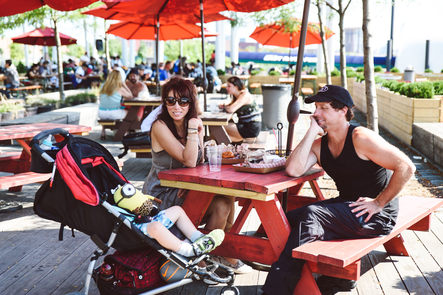 A family eats lunch in Long Island City.