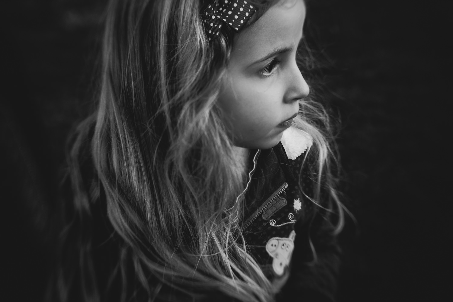 Portrait of a little girl in black and white