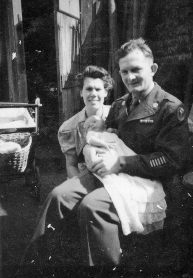 A couple and their baby son in the 1940's.