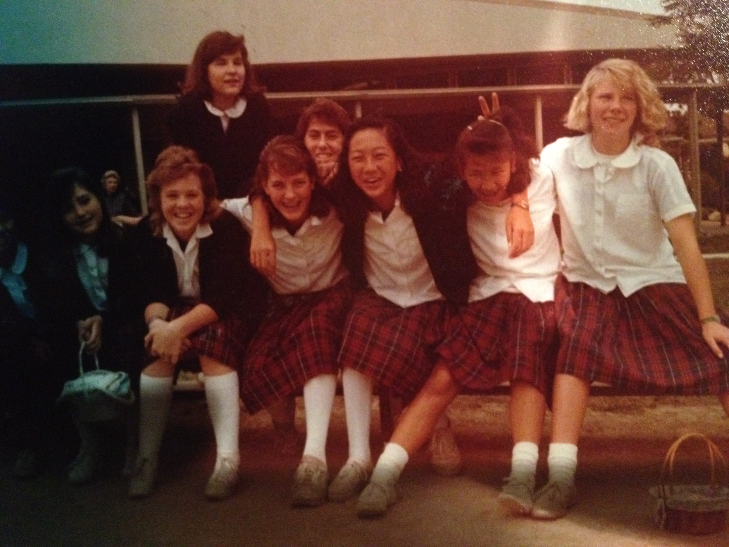 Catholic school girls in the 1980's.