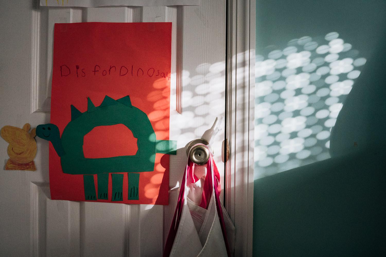 Pretty dappled light on a children's bedroom wall.