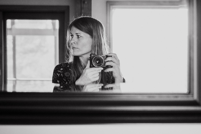 A self-portrait in the mirror.