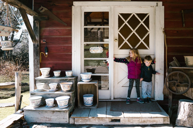 Kids guard the door at the Berkshire Potter.