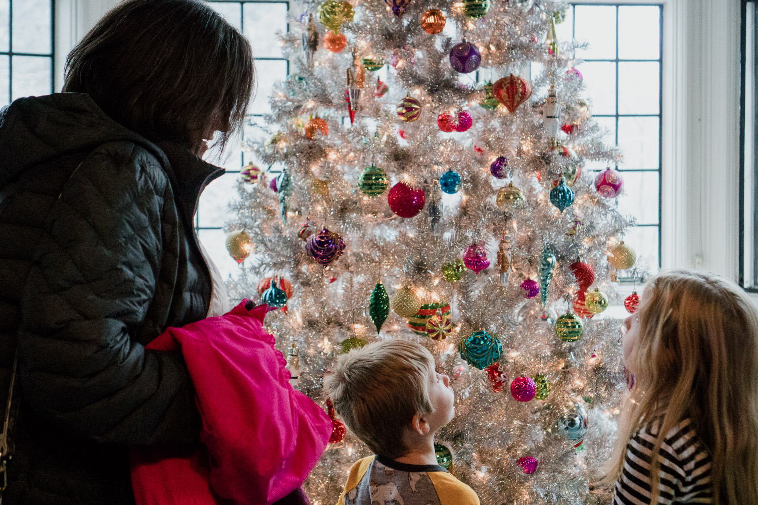 Two children and their grandmother admire one of the Christmas trees at Coe House.
