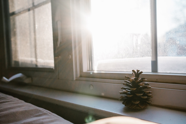 A lone pine cone sits on a window ledge.