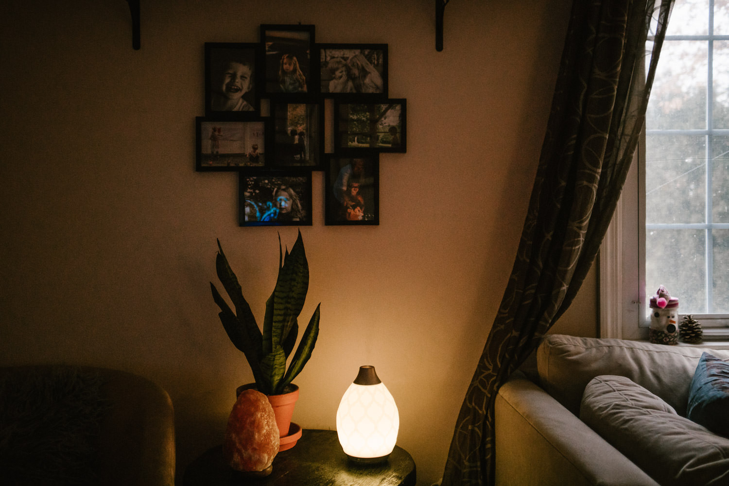 A diffuser and plant sit on a living room side table.