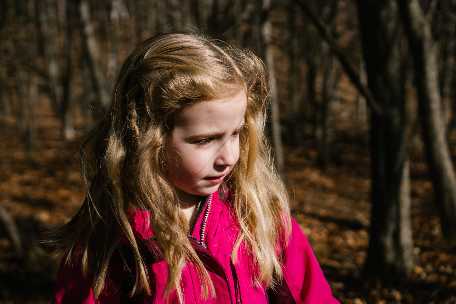 A portrait of a little girl in a pink coat in the woods.