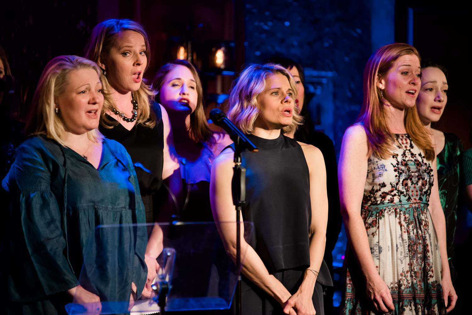 Broadway actresses sing onstage at 54 Below.