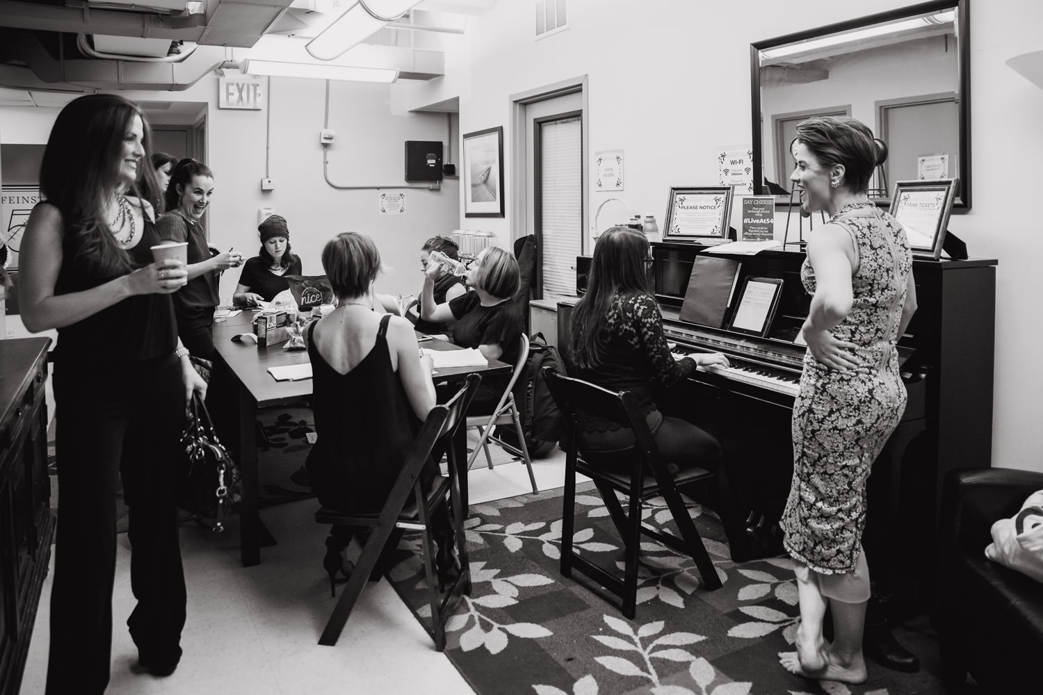 Broadway mamas gather in the green room before a concert at 54 Below.