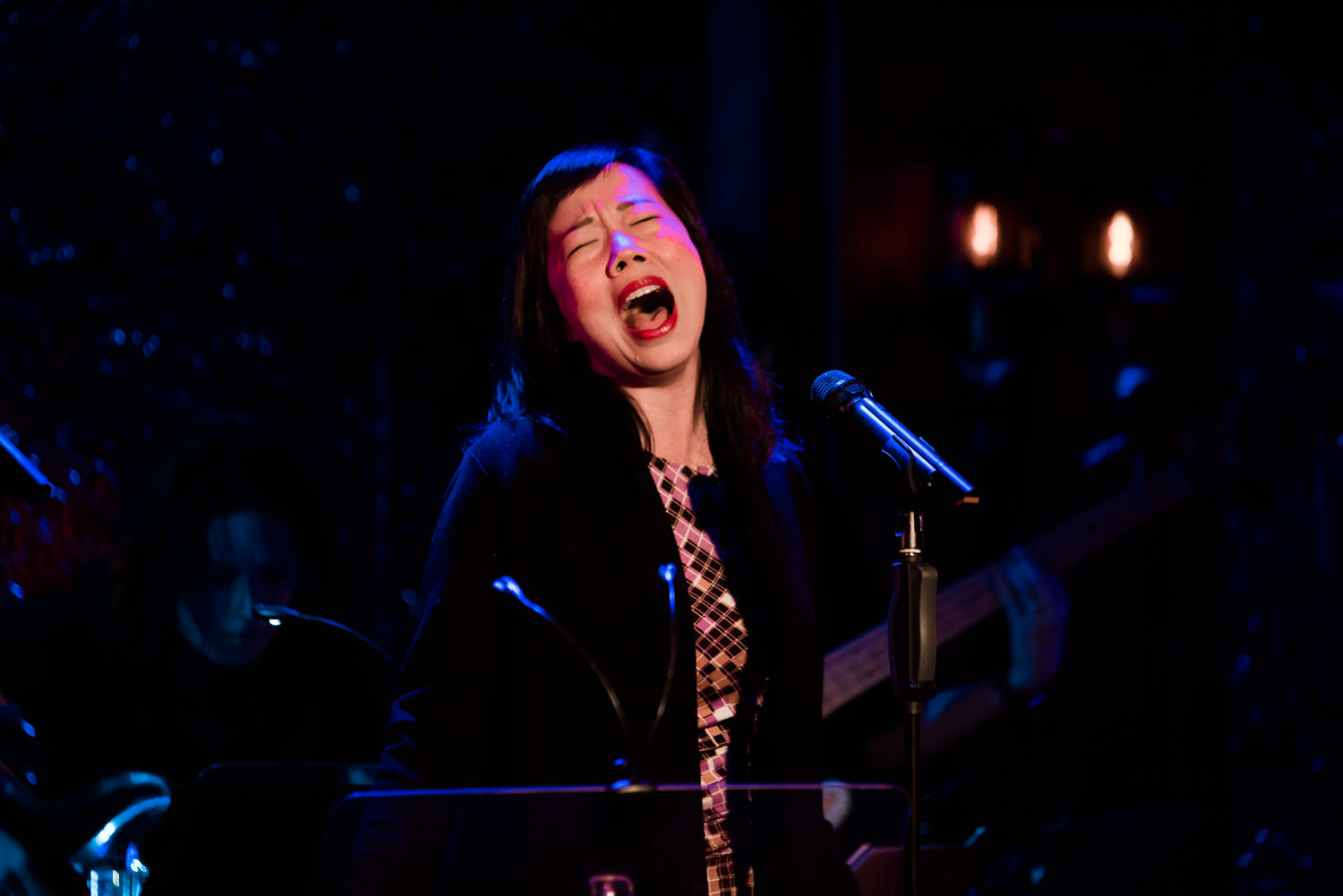 Pearl Sun belts out a song at 54 Below.