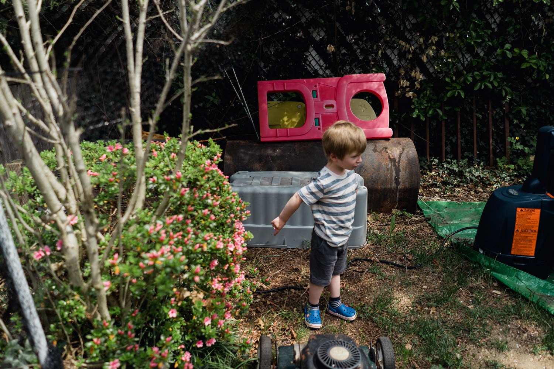 A little boy explores a messy yard.
