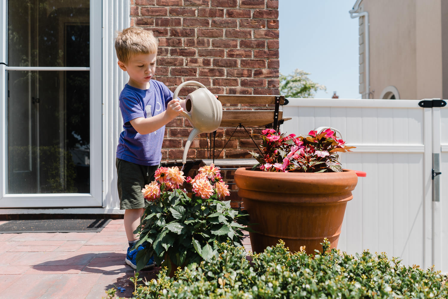 A little boy waters some flowers.