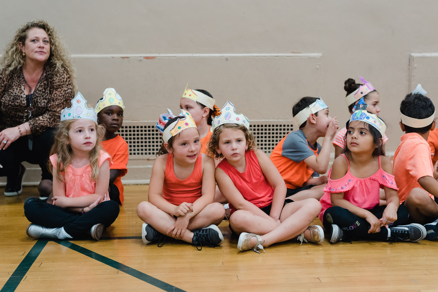 Children wait to perform their kindergarten show.