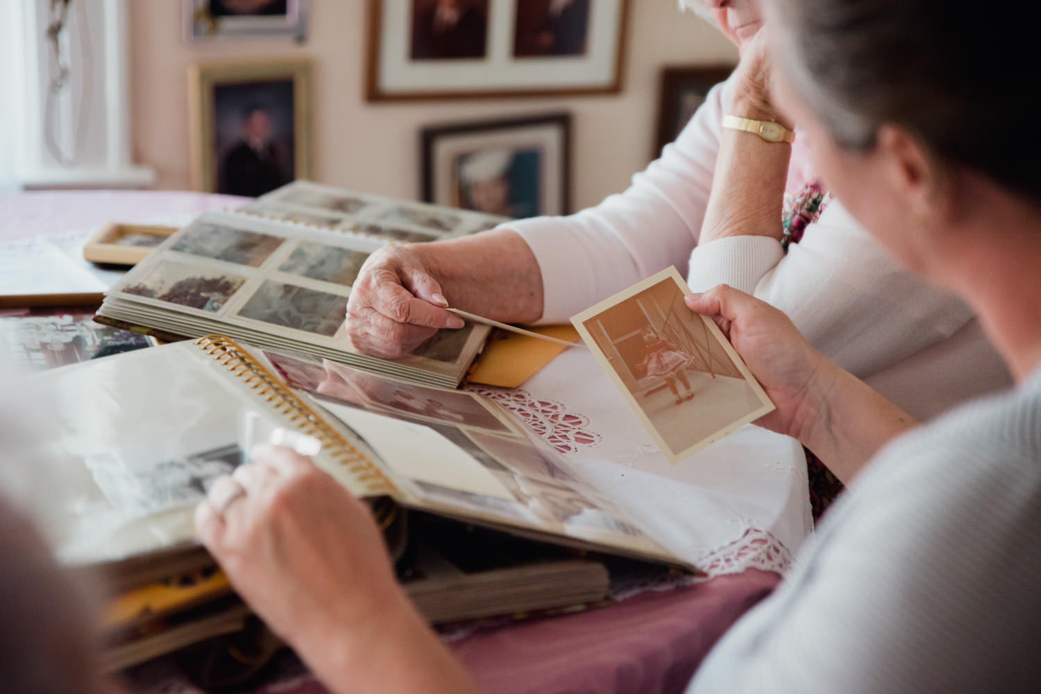 Looking through family photographs.