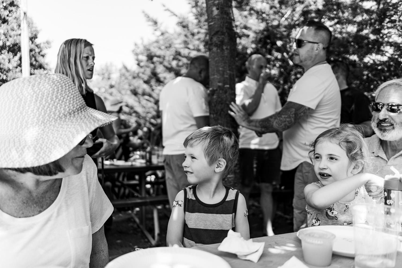 A family at a beer garden.