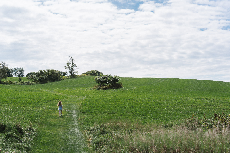 A little girl climbs a grassy hill.