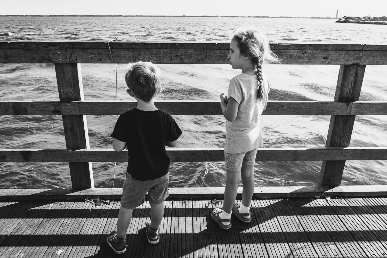 Kids watch the waves at Captree State Park.