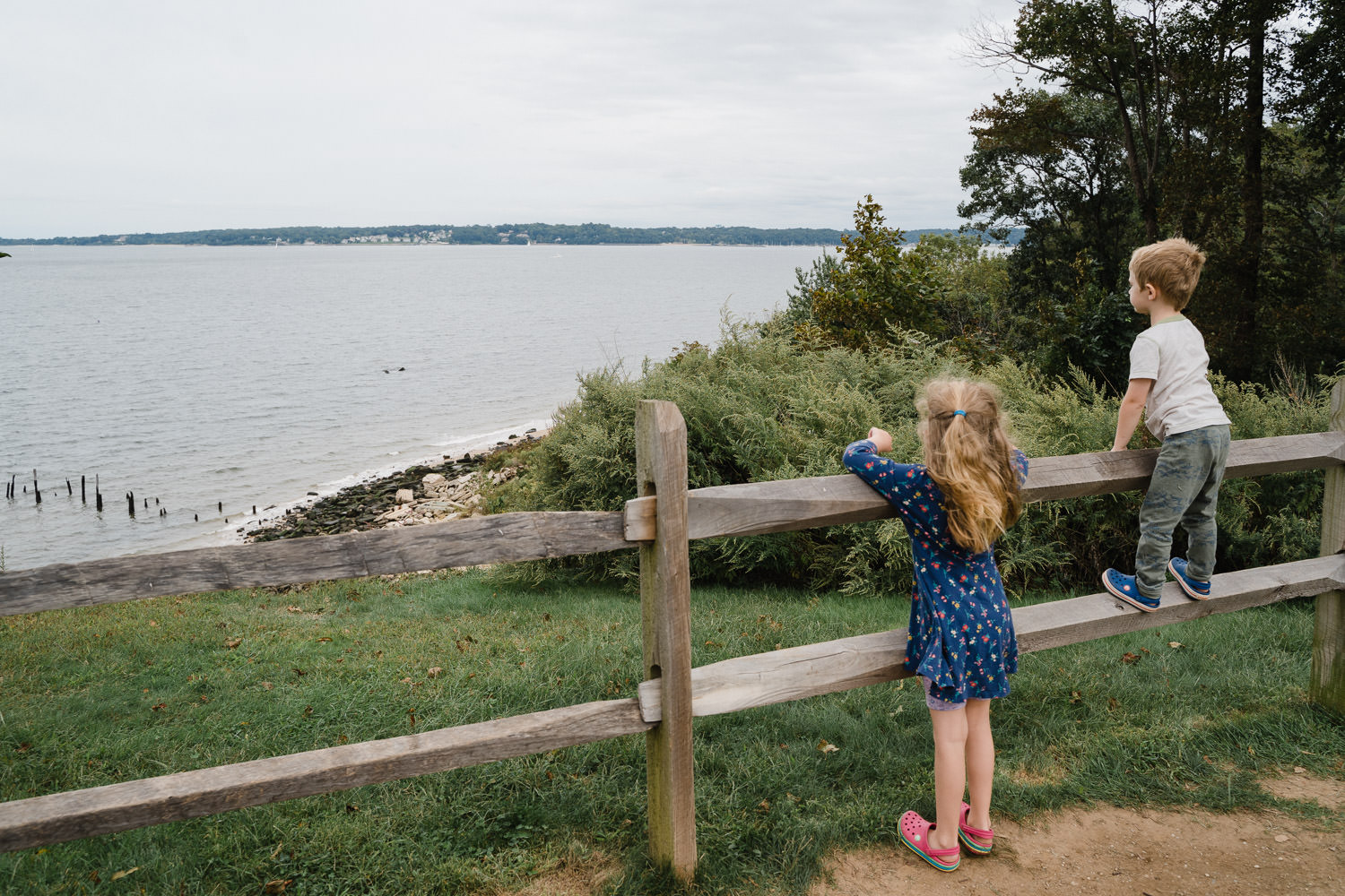 Two children look out at the view.