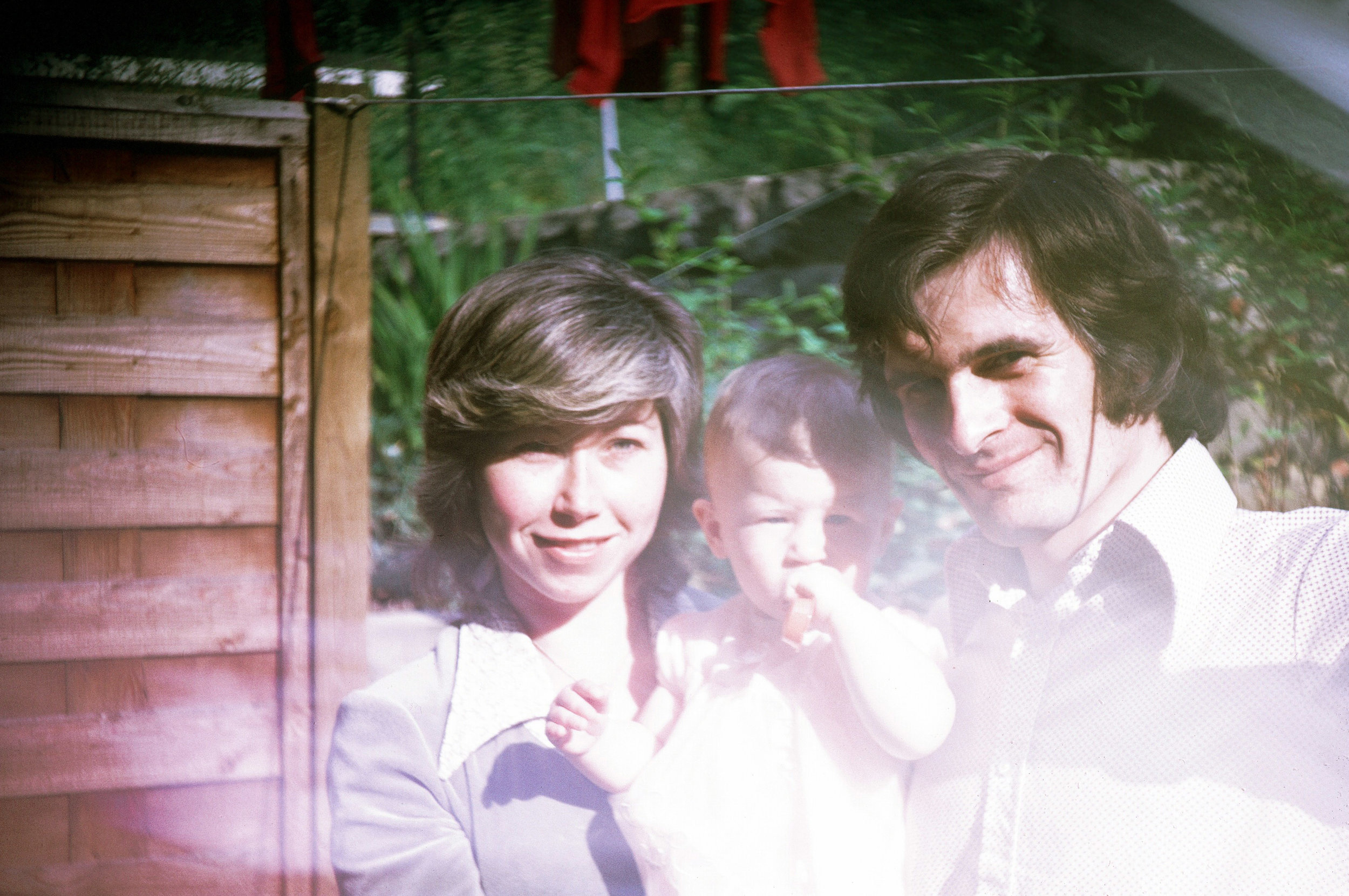 With my mom and dad.