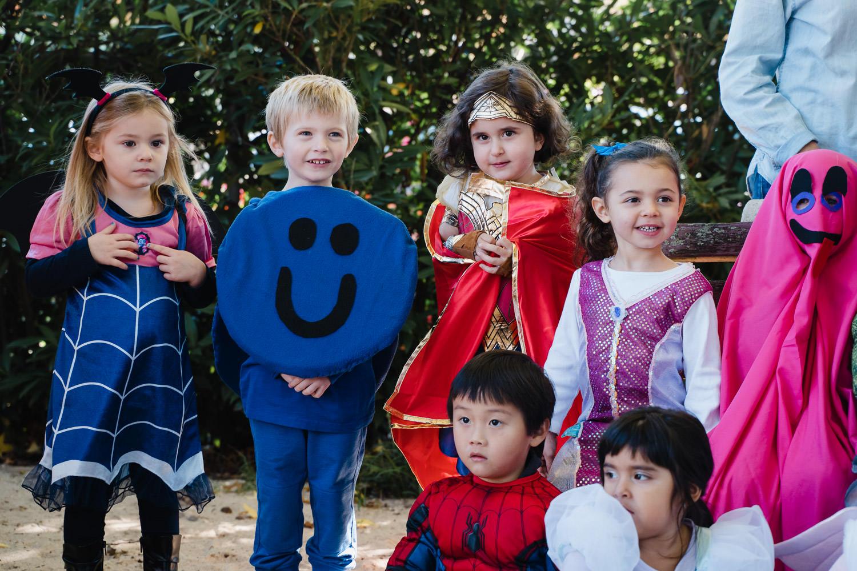 Pre-K children dressed up for Halloween.