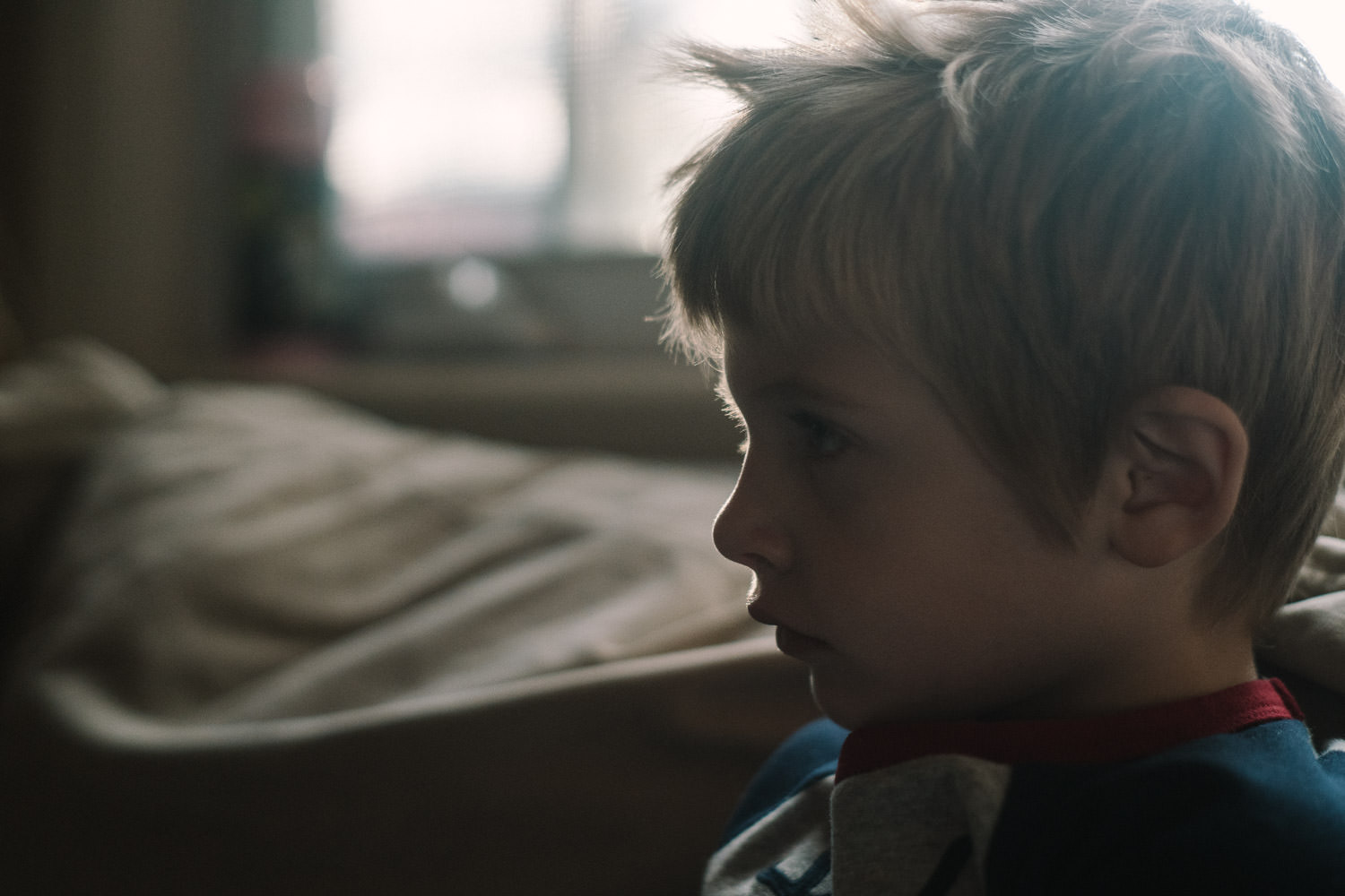 The profile of a little boy.